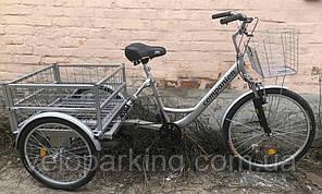 Взрослый трехколесный грузовой велосипед Ukrbike (Украина) велорикша c амортизаторами двухподвесный