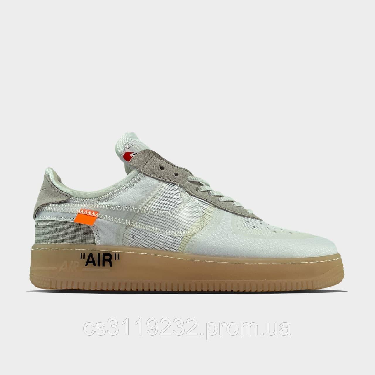 Чоловічі кросівки Nike Air Force 1 Low Off-White White Brown (білі)