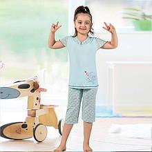 Пижама детская для девочки с бриджами демисезонная Турция от 4 до 13 лет, костюм для дома 75037