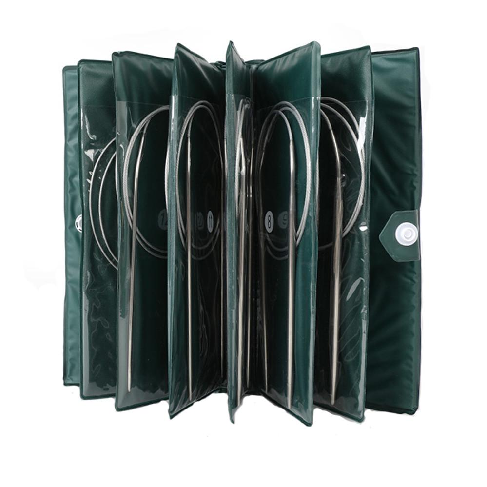 Набір спиць на тросі 80 см металеві Спиці в наборі на волосіні Спиці гачки та аксесуари для в'язання