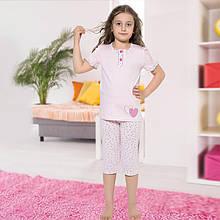 Пижама детская для девочки с бриджами демисезонная Турция от 4 до 13 лет, костюм для дома 75038