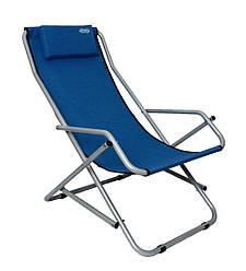 Шезлонг пляжный садовый раскладной Novator SH-7 Blue