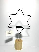 Подсвечник декоративный в виде звезды на подставке черный Home