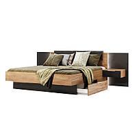Кровать двуспальная с мягким изголовьем и ящиком Луна LN-38-LV MiroMark дуб крафт/черный