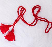 Плетеный женский пояс, красный