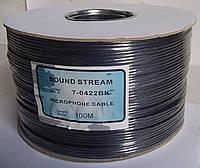 Кабель аудио-видео НЧ 4жилы в экране, диам.-2,8x11,2мм, чёрный, 100м