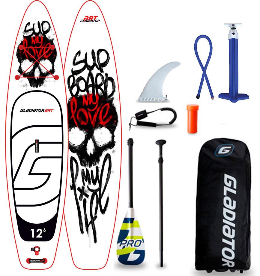 "Сапборд Gladiator ART 12'6"" x 32"" MY LOVE - надувна дошка для САП серфінгу, sup board"