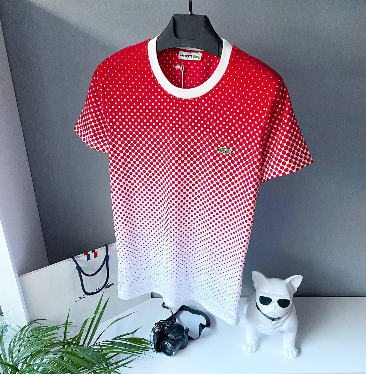 Мужская футболка Lacoste красного цвета