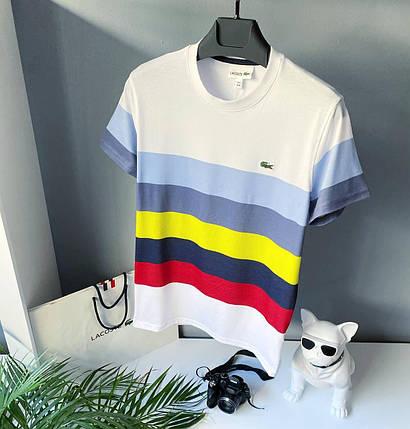 Мужская футболка Lacoste белого цвета с цветными полосами, фото 2