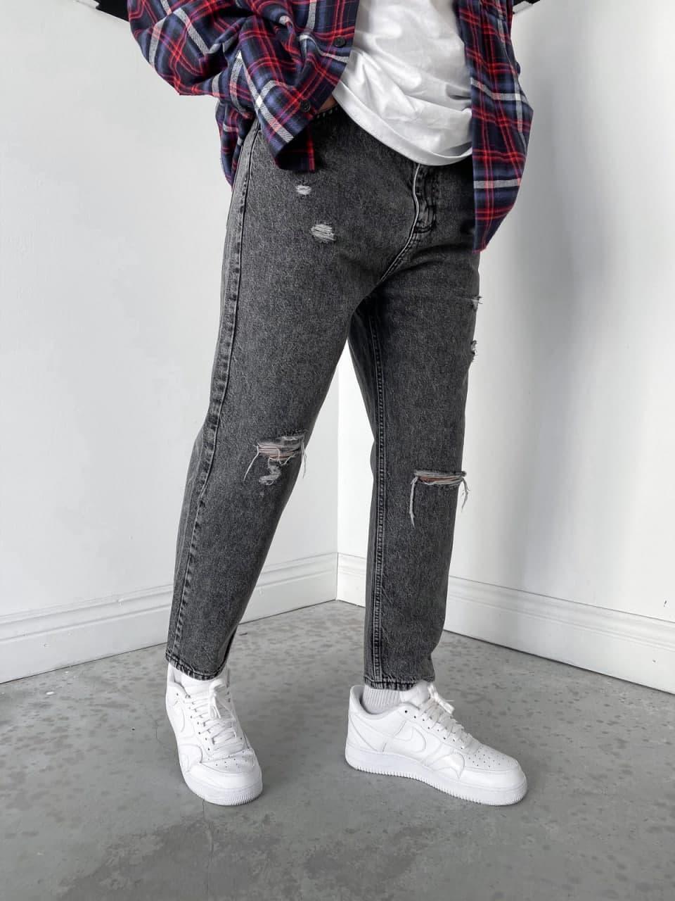 Мужские джинсы МОМ прямые серые с заплатками