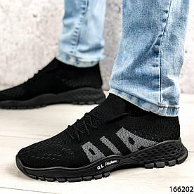 Кроссовки мужские черные , тканевые, на шнурках 1383020409