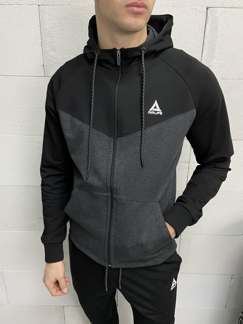 Мужской спортивный костюм черно-серого цвета
