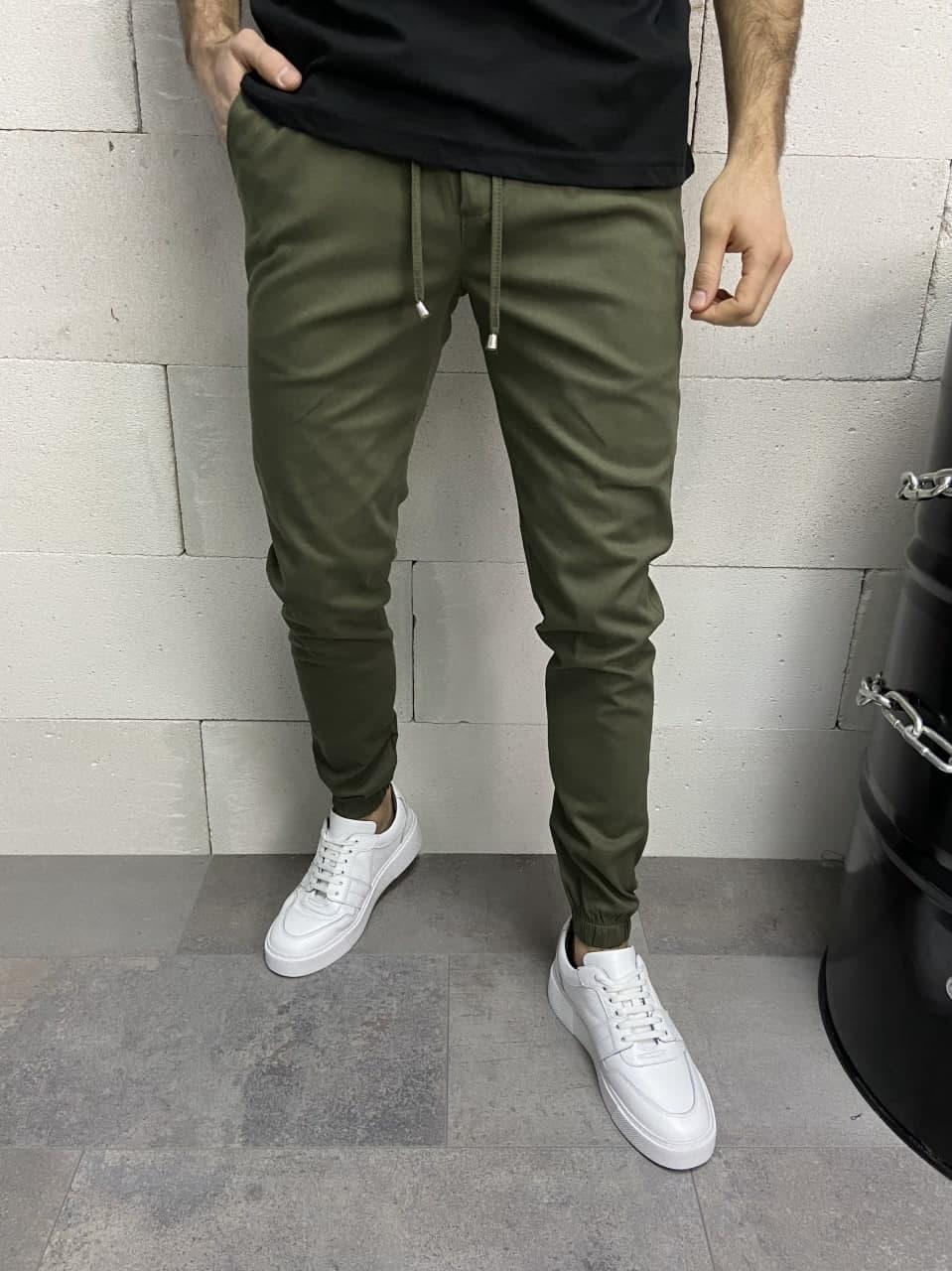 Штани чоловічі звужені кольору хакі