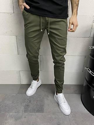Штани чоловічі звужені кольору хакі, фото 2