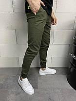 Штани чоловічі звужені кольору хакі, фото 3