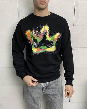 Світшот чоловічий чорний з короною, фото 2