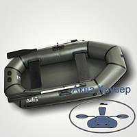 Лодка надувная ПВХ легкая гребная Дельта (Omega) Ω 240 L, цвет хаки