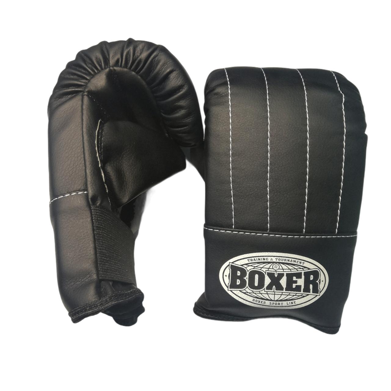 Перчатки Тренировочные L кожа, черные BOXER