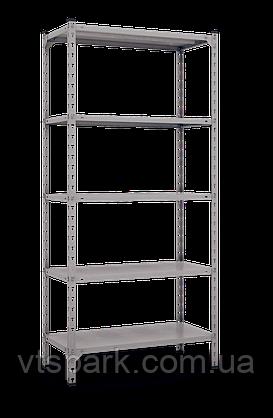 Стеллаж Комби 1800х900х400мм, 120кг, 5 полок, металлические полки, оцинкованный для подвала, склада, архива