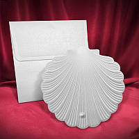 Креативные приглашения на свадьбу серебристого цвета в морском стиле (арт. 2562)
