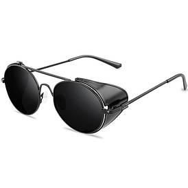 Солнцезащитные очки с шорами в стиле стимпанк (арт. 17306/3) с черной оправой