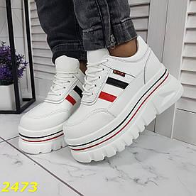 Кросівки білі на високій платформі масивній підошві
