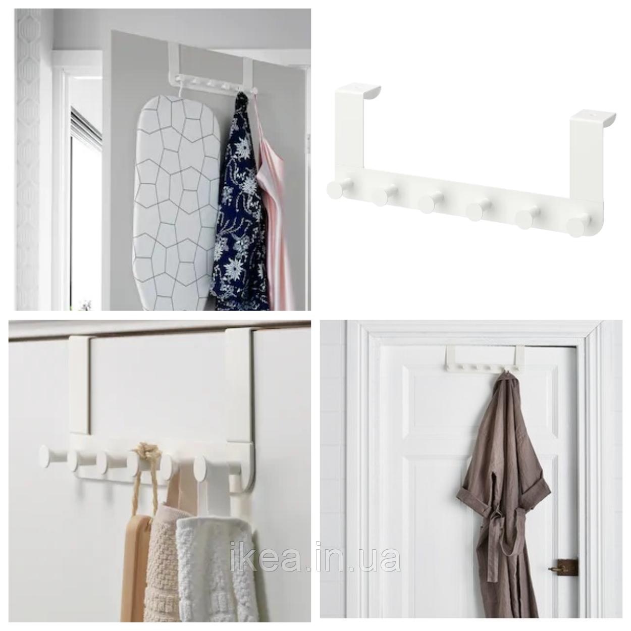 Вешалка дверная пластиковая белая IKEA ENUDDEN вешалка крючок на дверь, надверная ИКЕА ЕНУДДЕН