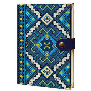 Дневник на кнопке Желто синий орнамент