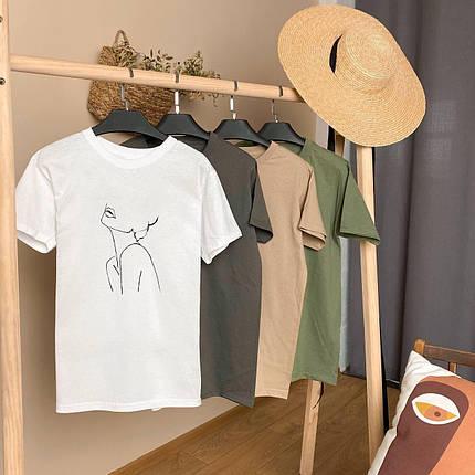 Женская базовая футболка бежевая свободного кроя, фото 2