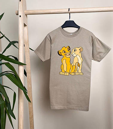 Женская футболка Симба бежевая свободного кроя, фото 2