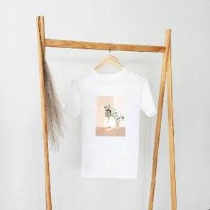 Женские футболки белого цвета свободного кроя с весенним принтом, фото 2