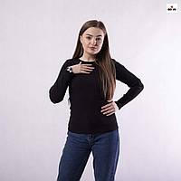 Кофта жіноча базова в рубчик однотонна чорна 42-52р, фото 1