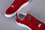 Кроссовки мужские из нубука красного цвета с кожаными вставками, фото 5