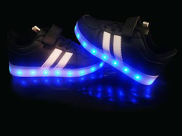 Кроссовки светящиеся детские Black W27