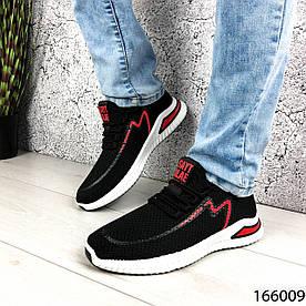 Кроссовки мужские черные с красным, тканевые, на шнурках