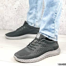 Кроссовки мужские серые, тканевые, на шнурках 1383019146