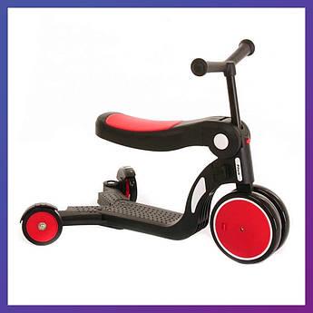 Детский трехколесный самокат беговел с сиденьем складной Tilly GS-0057 3в1 для детей от 2 лет красный