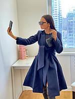Женское стильное приталенное пальто под пояс, фото 1