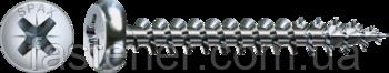 Саморез SPAX с покр. WIROX 4,5х60, полная резьба, полукруг. головка, PZ2, 4CUT, упак.-500 шт., пр-во Германия