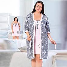 Одежда для сна женская хлопковая пеньюар с халатом большого размера Seyko 60030