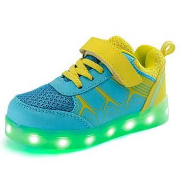 Кроссовки светящиеся детские Sky/Yellow