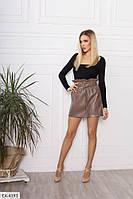 Модная короткая женская юбка мини из эко кожи с завышенной талией р-ры 42-48 арт.  913