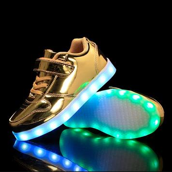 Кроссовки светящиеся липучка Gold Princess