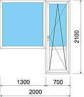 Металлопластиковое окно балконный блок(пвх)  2000мм х 2100мм