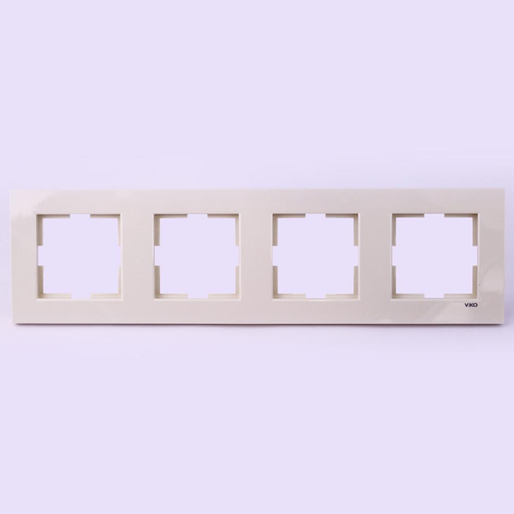 Четверная рамка VI-KO Karre горизонтальная скрытой установки (кремовая)