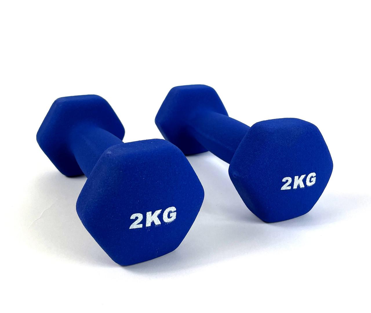 Гантелі для фітнеса NEO-SPORT 2 кг. x 2 шт., метал з вініловим покриттям (синій), фото 1