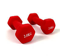 Гантелі для фітнеса NEO-SPORT 2 кг. x 2 шт., метал з вініловим покриттям (червоний), фото 1