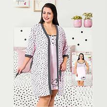 Одежда для сна женская хлопковая пеньюар с халатом большого размера Seyko 60031