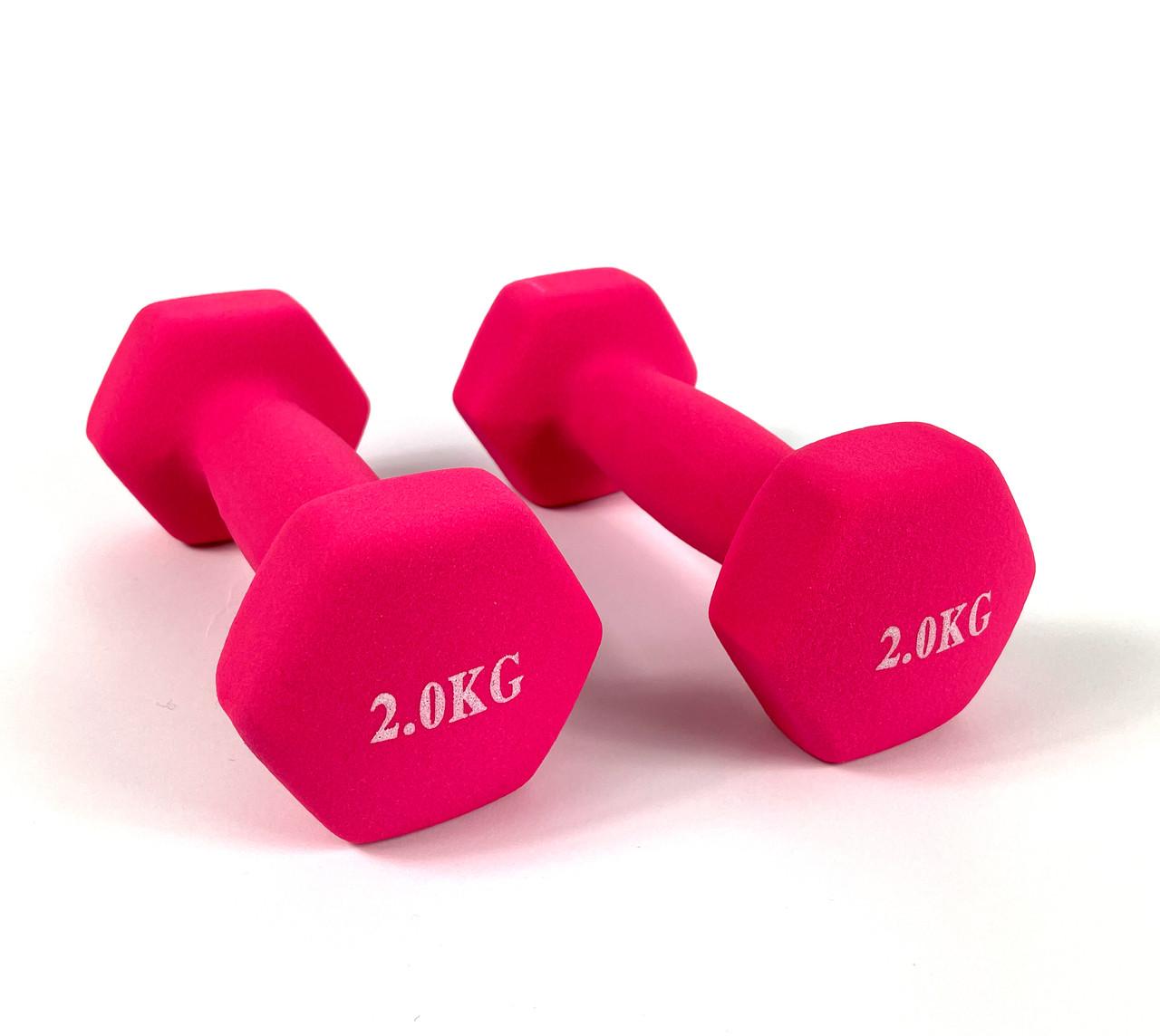 Гантелі для фітнеса NEO-SPORT 2 кг. x 2 шт., метал з вініловим покриттям (рожеві), фото 1