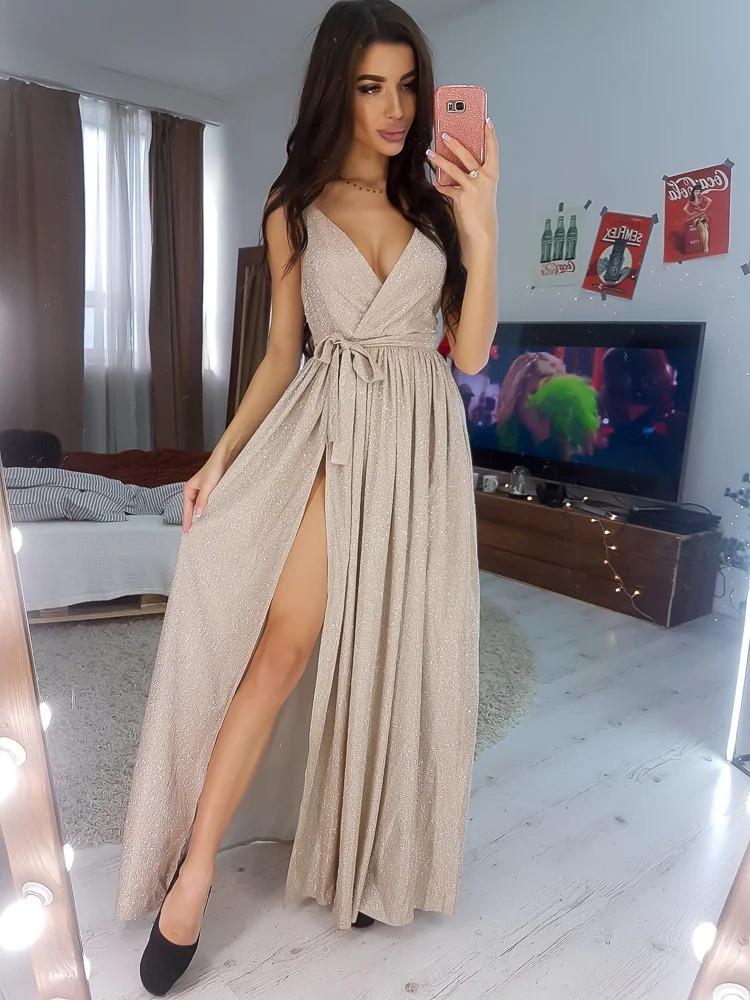 Розкішне блискуче плаття на запах під пояс
